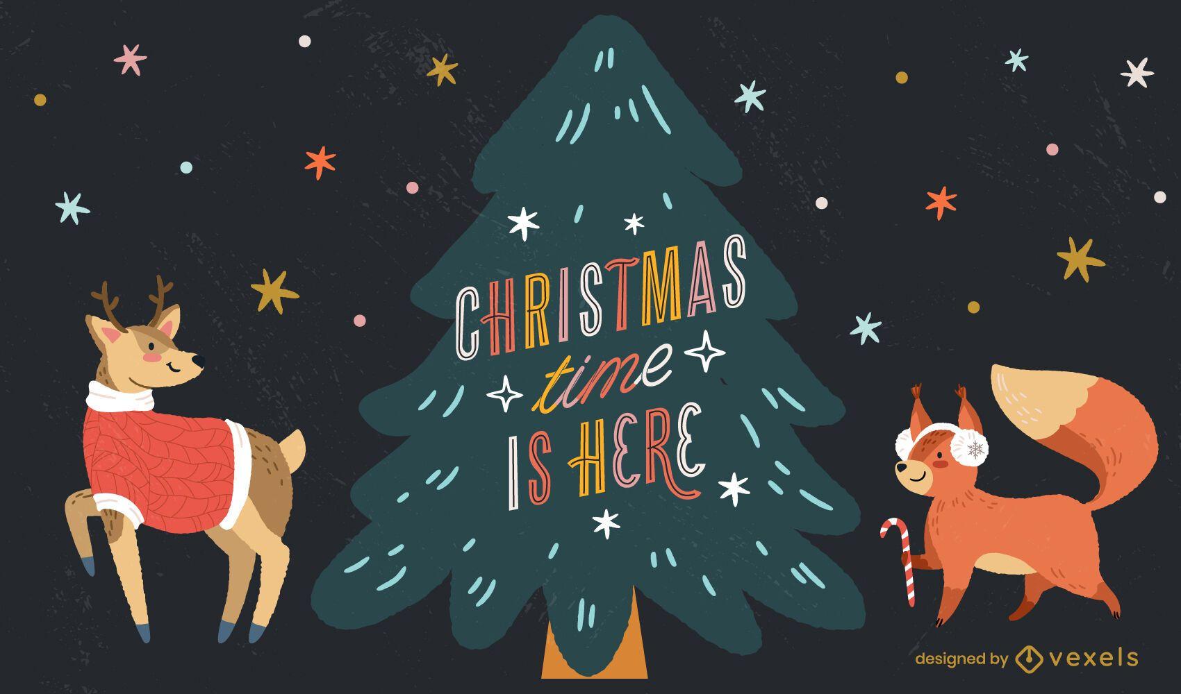 Christmas time lettering illustration