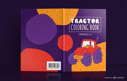 Diseño de portada de libro para colorear de tractor