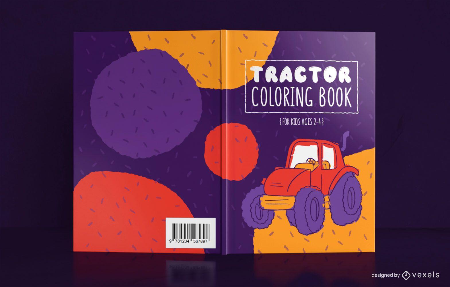 Dise?o de portada de libro para colorear de tractor