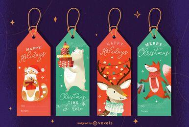 Conjunto de diseño de etiquetas de animales navideños