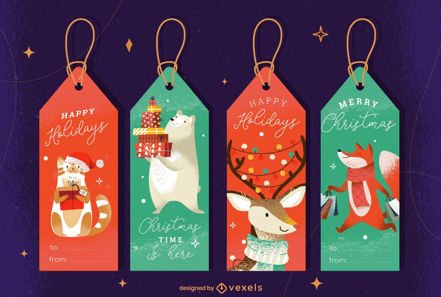 Conjunto de diseño de etiqueta de animales navideños