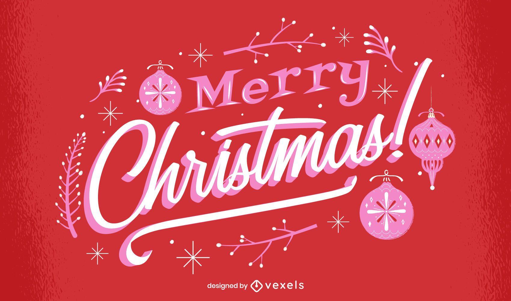 Feliz navidad diseño de letras brillantes