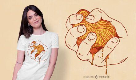 Design de camiseta laranja espremido