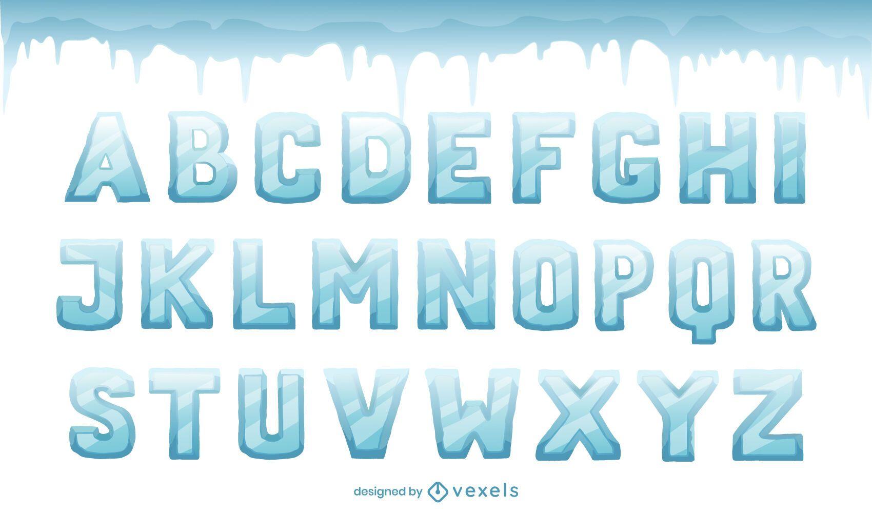 Conjunto de letras del alfabeto de hielo