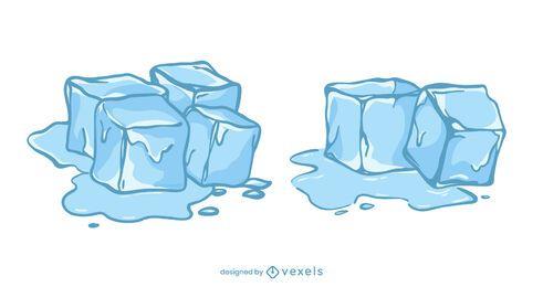 Ice cubes illustration set