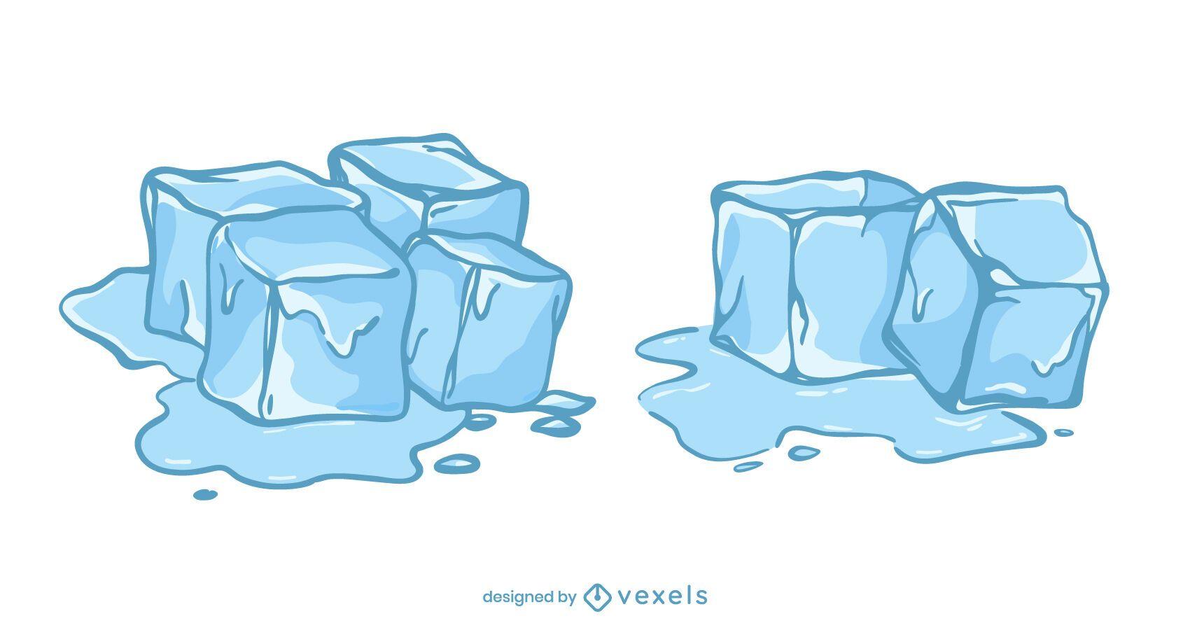 Conjunto de ilustración de cubitos de hielo