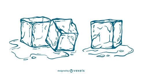 Conjunto de ilustração de traços de cubos de gelo