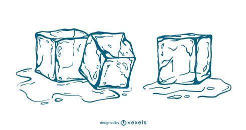 Eiswürfel-Strichillustrationssatz