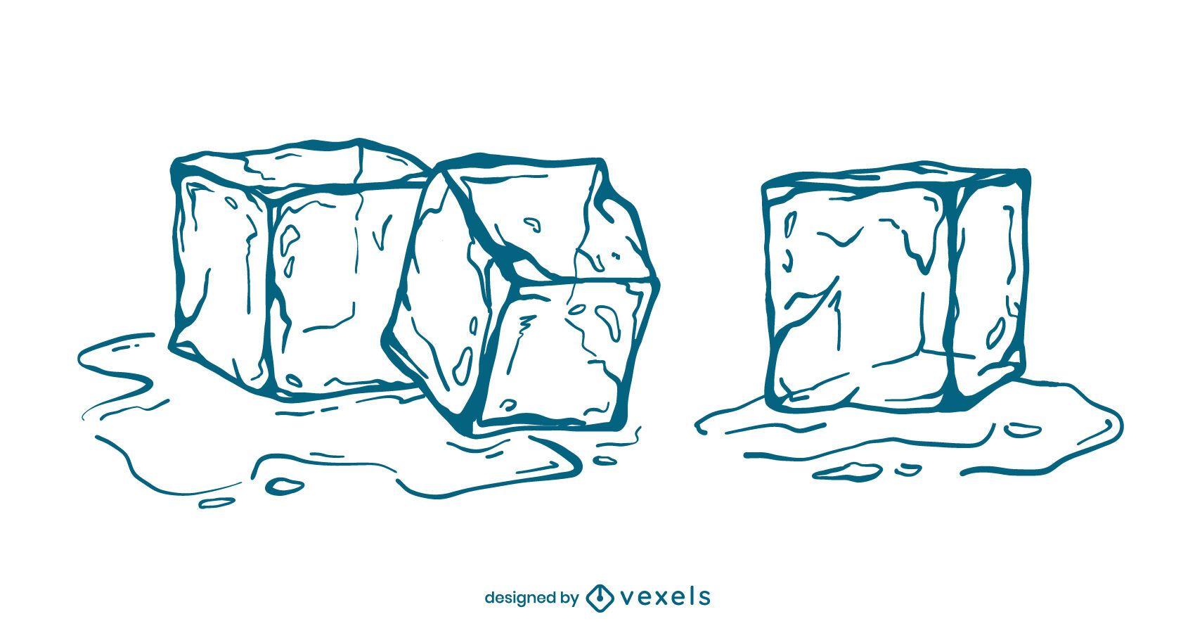 Conjunto de ilustración de trazo de cubitos de hielo