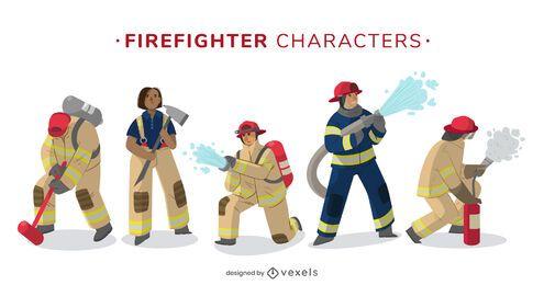 Paquete de diseño de personajes de bombero