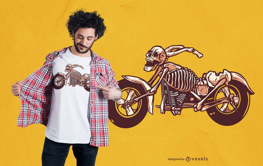 Skeleton bike t-shirt design