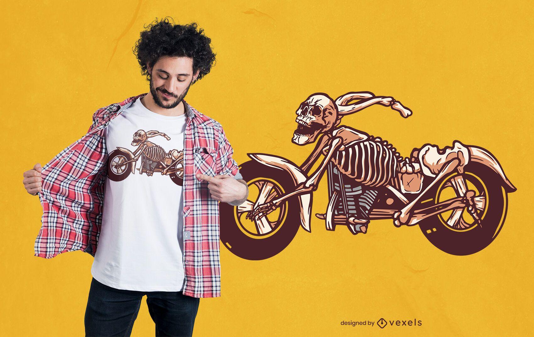 Diseño de camiseta de bicicleta esqueleto