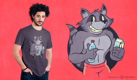 Muscular raccoon t-shirt design