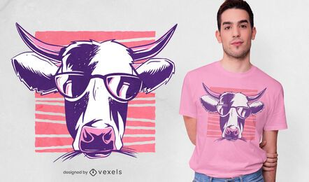 Sunglasses cow t-shirt design