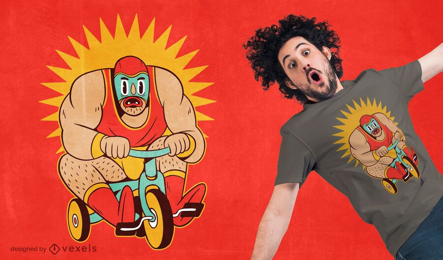 Wrestler tricycle t-shirt design