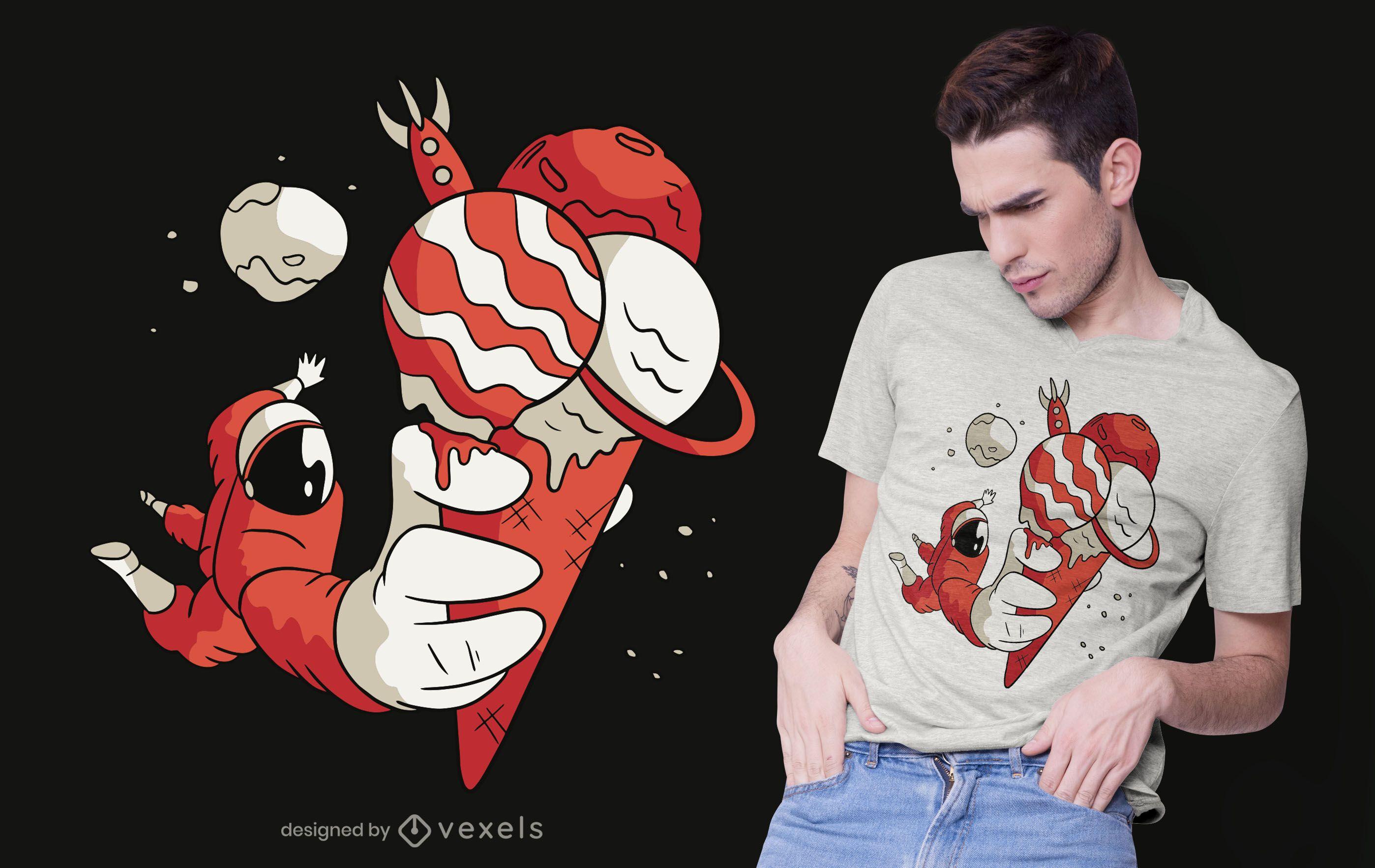 Astronauten-Eiscreme-T-Shirt Design