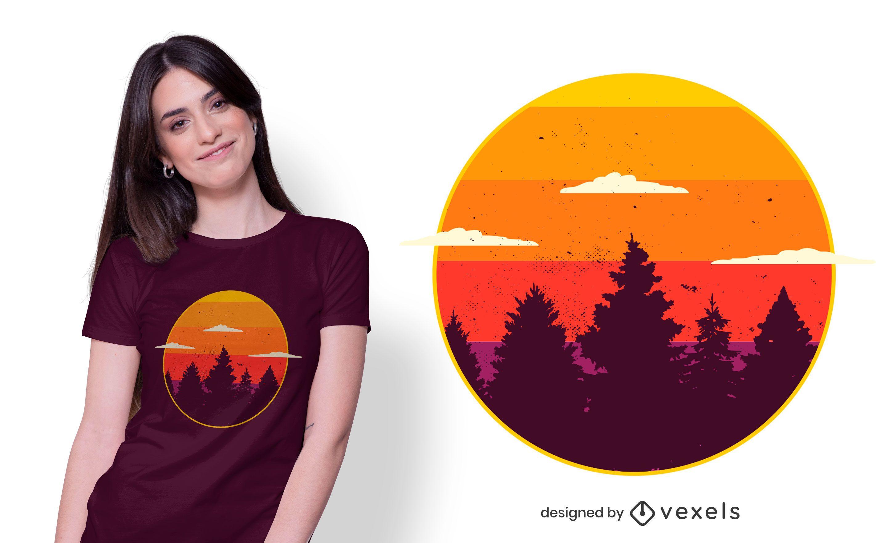 Design de camiseta da floresta do pôr do sol