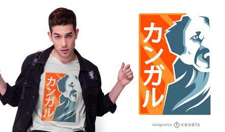 Diseño de camiseta japonesa Kangal Dog