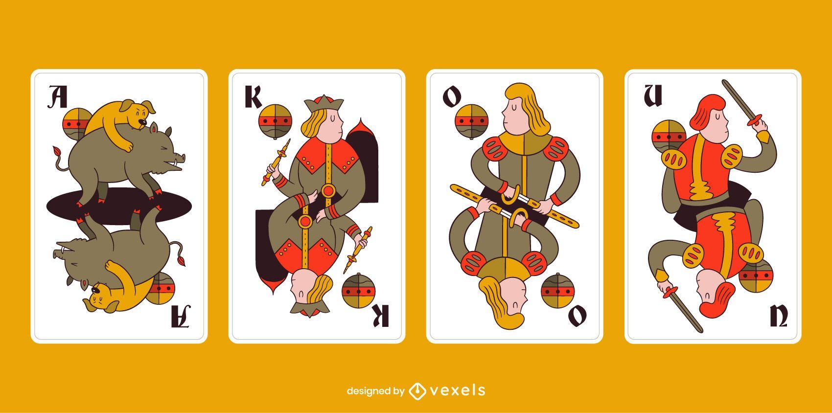 Paquete de cartas de traje de campana de Tarocok bávaro
