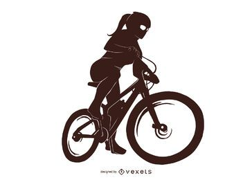Bicycle Girl Silhouette Design