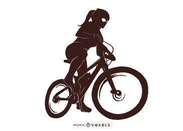 Design de silhueta de menina de bicicleta