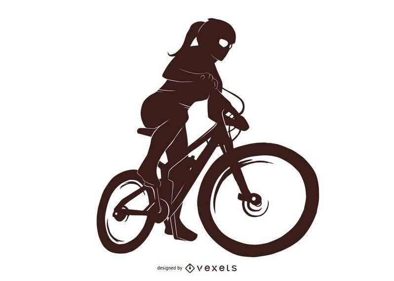 Diseño de silueta de niña de bicicleta