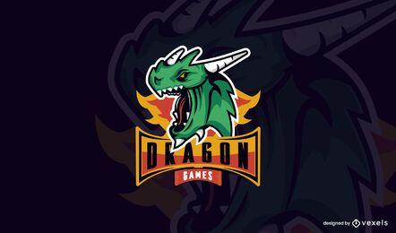 Modelo de logotipo de jogos de dragão