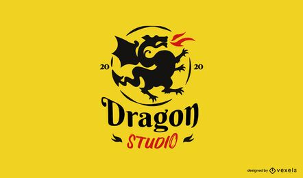 Plantilla de logotipo de dragon studio