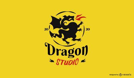 Plantilla de logotipo de dragon studio
