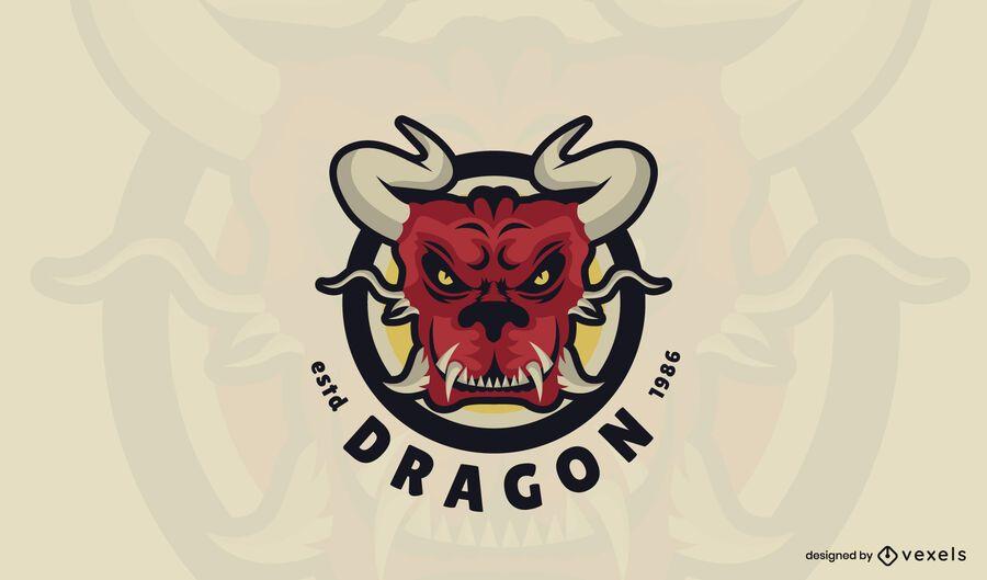 Modelo de logotipo de dragão vermelho