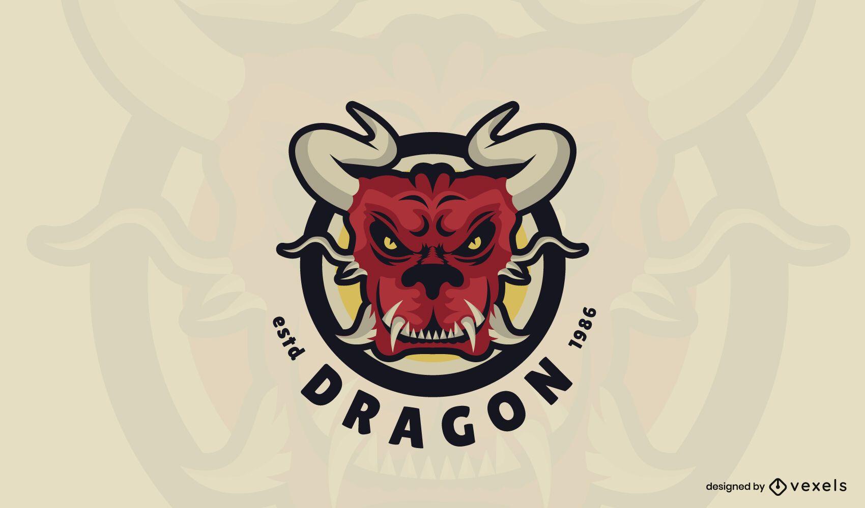 Plantilla de logotipo de dragón rojo