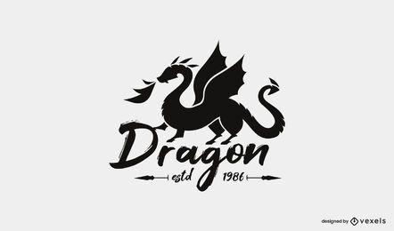 Plantilla de logotipo de silueta de dragón