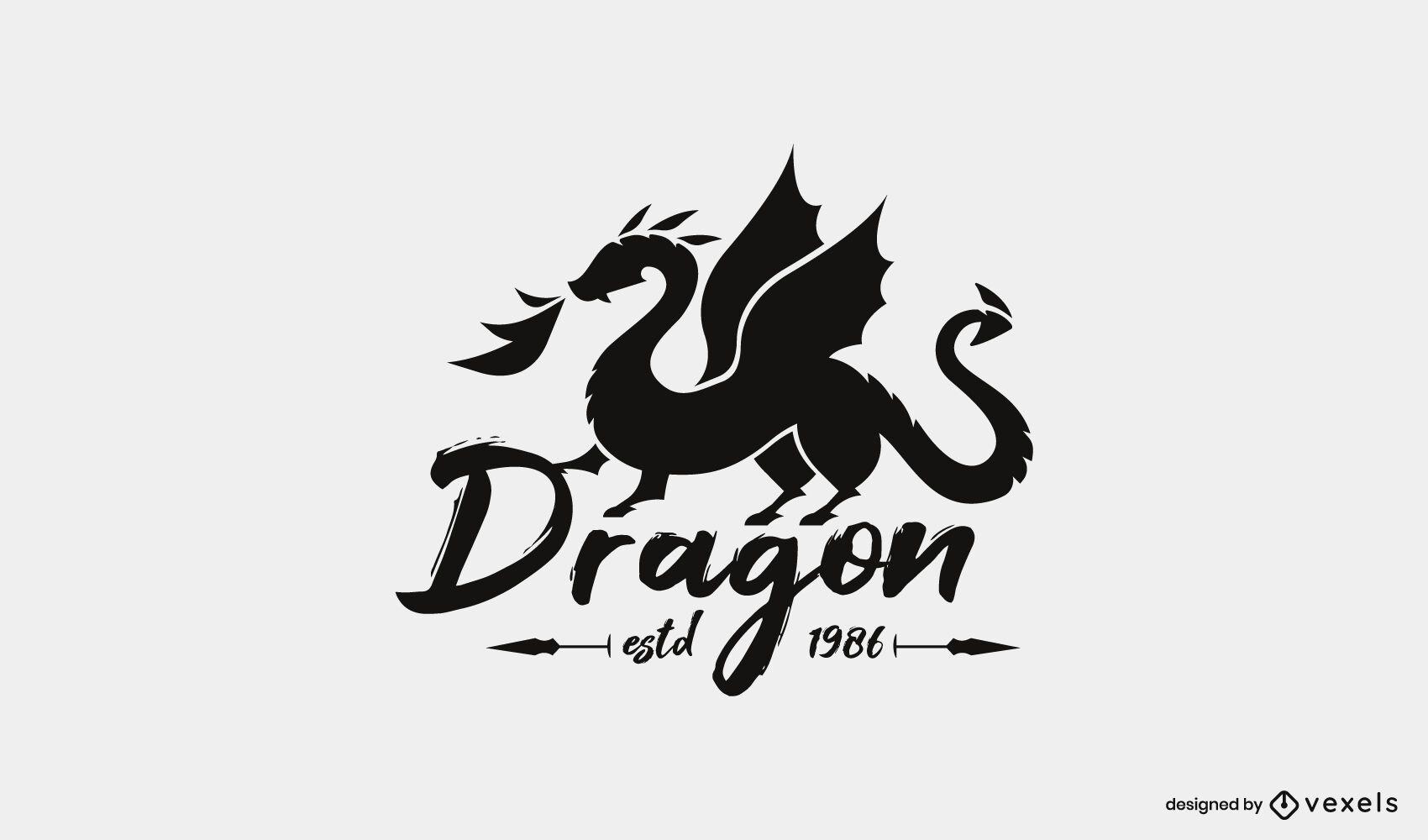 Modelo de logotipo de silhueta de dragão