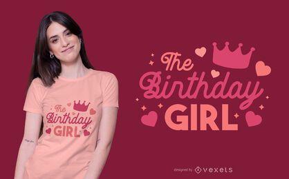 Diseño de camiseta de letras de niña de cumpleaños