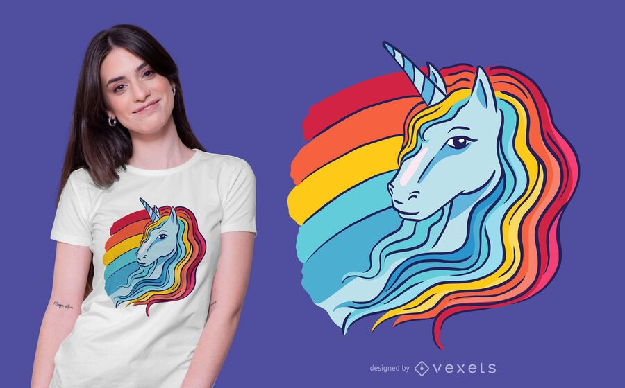 Design de t-shirt de ilustração de unicórnio de arco-íris