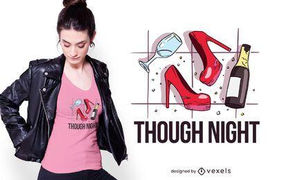 Design de camiseta de noite difícil