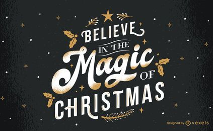 Magic of christmas lettering design