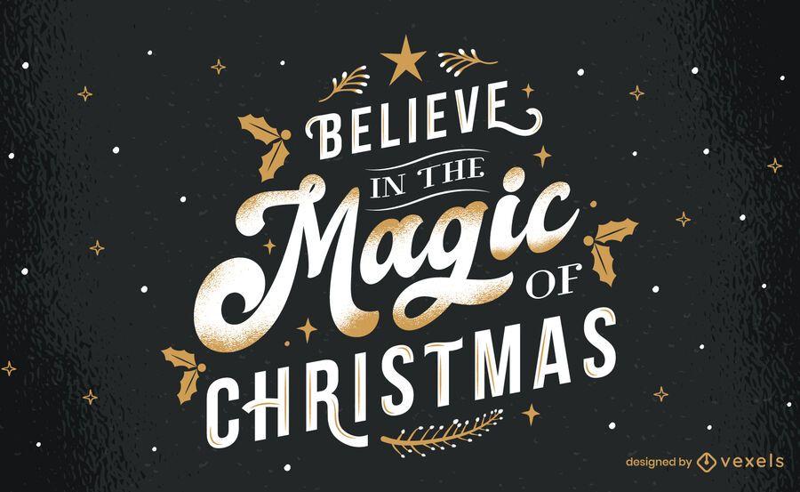 Magic of christmas lettering design