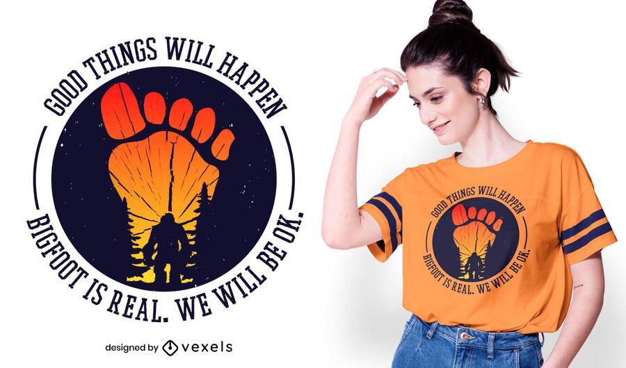 Bigfoot é design real do t-shirt das citações
