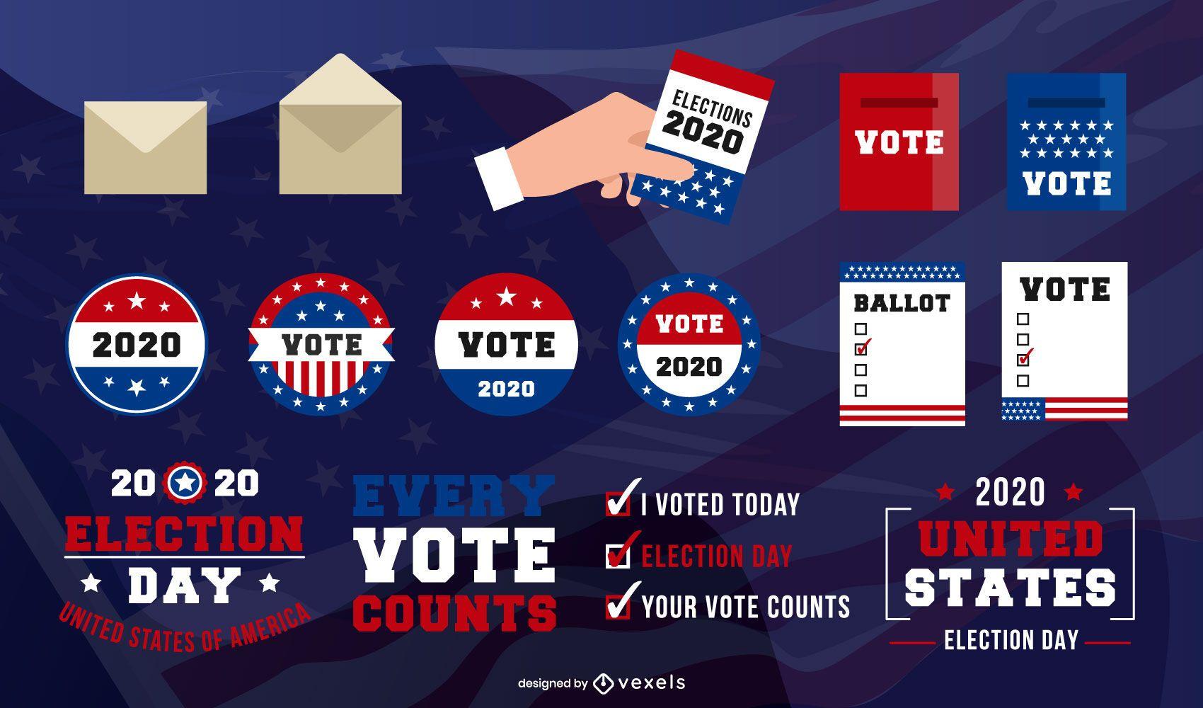 Paquete de elementos del día de las elecciones de EE. UU.