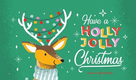 Diseño de letras de navidad holly jolly