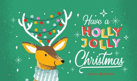 Holly jolly christmas lettering design