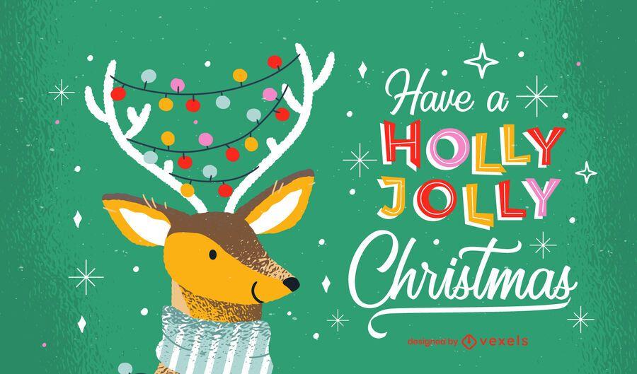 Holly jolly christmas lettering design