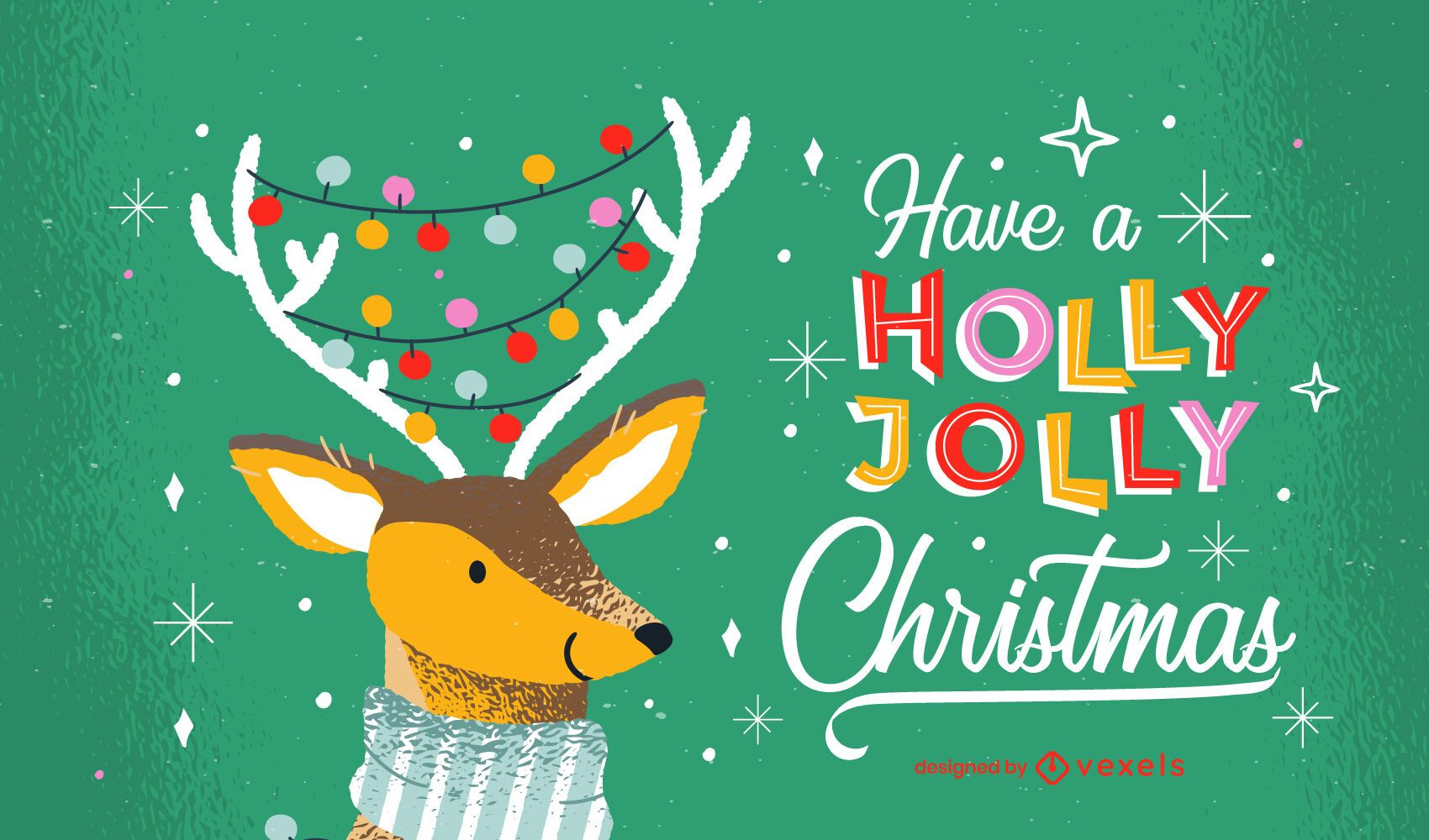 Diseño de letras navideñas holly jolly