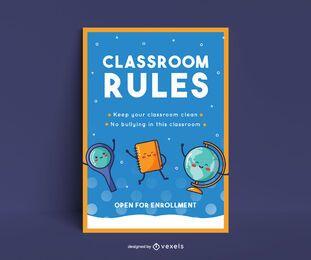 Design de pôster de sala de aula escolar
