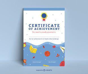 Diseño de plantilla de certificado escolar