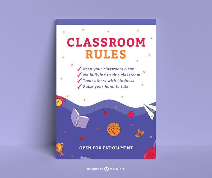 School classroom rules poster design