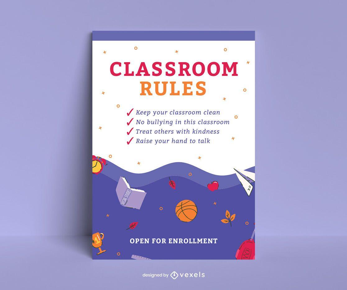 Diseño de carteles de reglas de aula escolar.