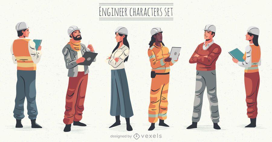 Engineer character illustration set