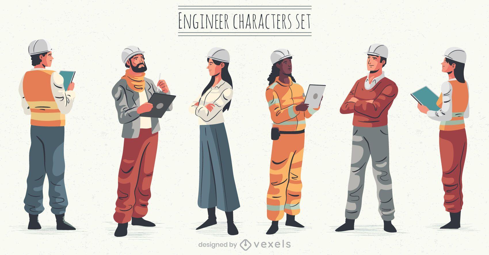 Conjunto de ilustración de personajes de ingeniero